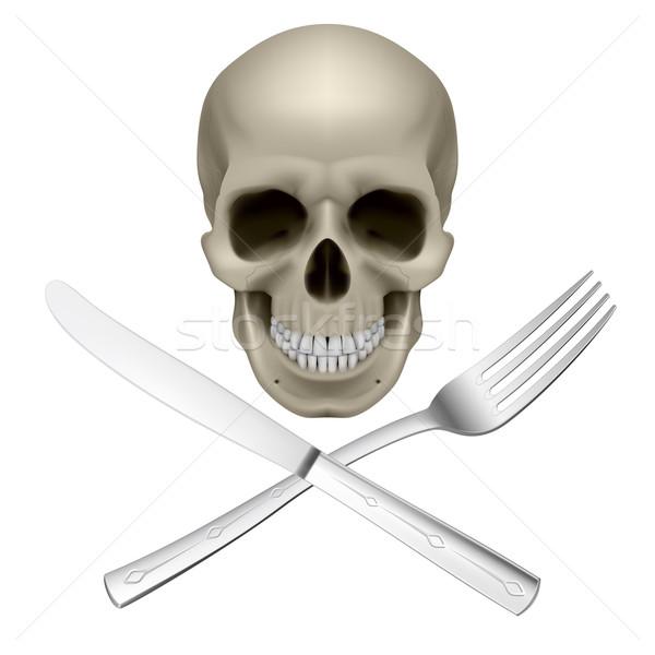 Ongezond dieet schedel vork mes symbool Stockfoto © dvarg