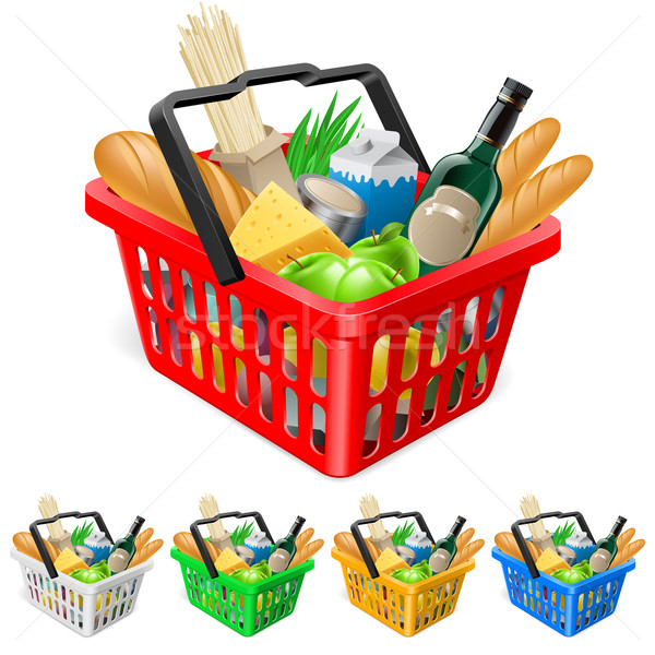Stock photo: Shopping basket with foods.