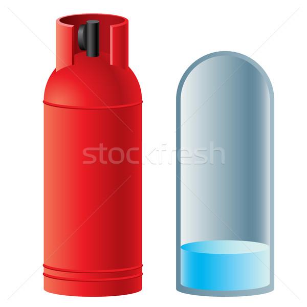 Czerwony butan gazu cylinder ilustracja biały Zdjęcia stock © dvarg