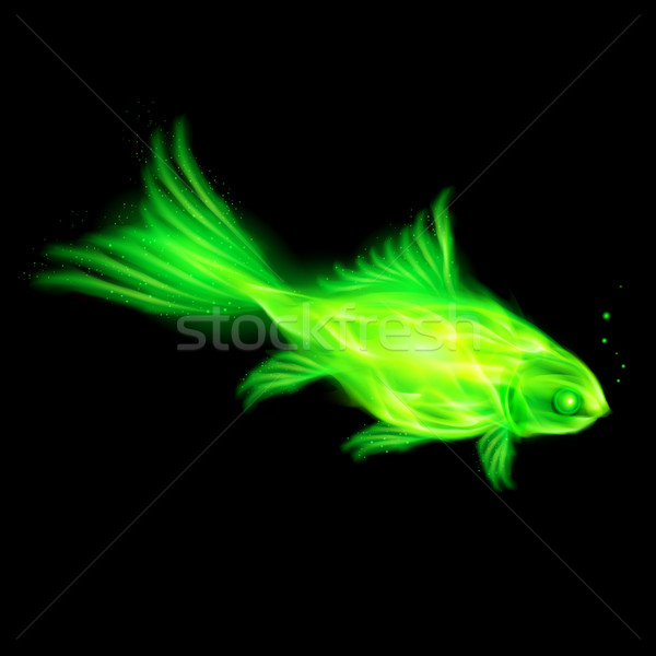 Green fire fish. Stock photo © dvarg