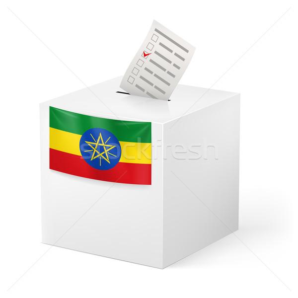 Ballot box with voting paper. Ethiopia Stock photo © dvarg
