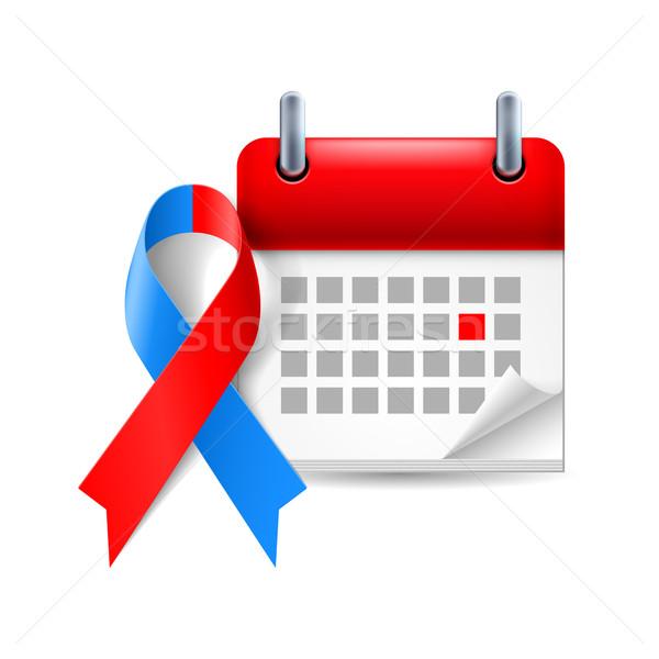 Vermelho azul consciência fita calendário dia Foto stock © dvarg