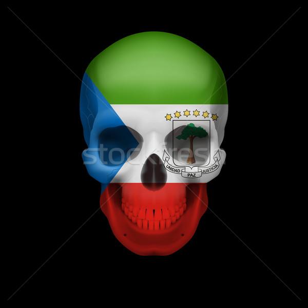 Equatorial Guinean flag skull Stock photo © dvarg