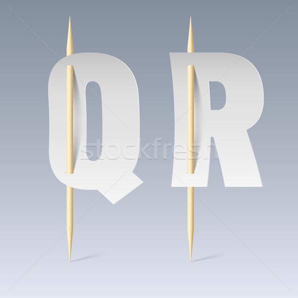 Paper font on toothpicks Stock photo © dvarg