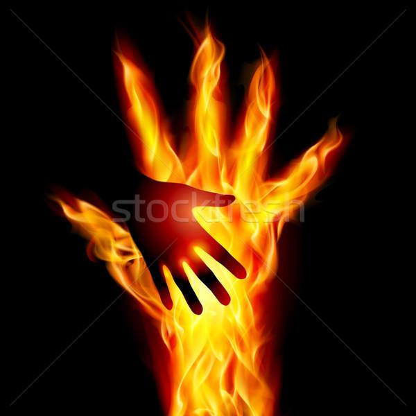 Brandend helpende hand illustratie ontwerp zwarte liefde Stockfoto © dvarg