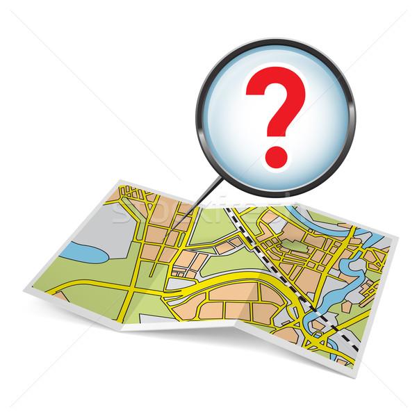 Kaart boekje vraagteken stad witte straat Stockfoto © dvarg