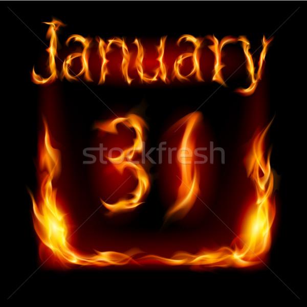 Kalendarza ognia ikona czarny działalności projektu Zdjęcia stock © dvarg