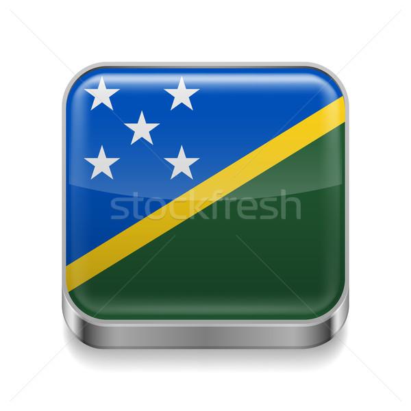 Metal icona Isole Salomone piazza bandiera colori Foto d'archivio © dvarg