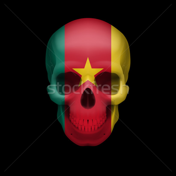 Cameroonian flag skull Stock photo © dvarg