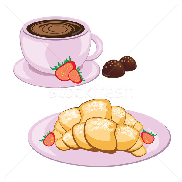 Coffee in round mug and croissant  Stock photo © dvarg