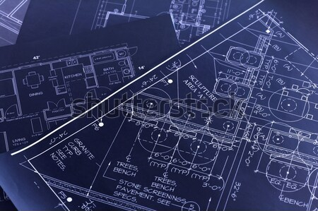 Blueprints design maison architecture papier Photo stock © dzejmsdin