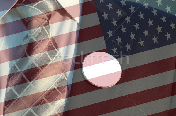 Photo stock: élection · drapeau · américain · affaires · costume · badges