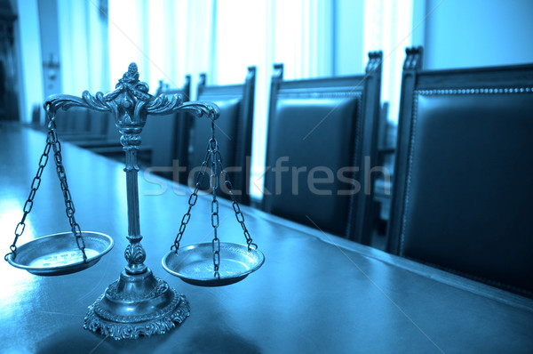 Decorative Scales of Justice in the Courtroom Stock photo © dzejmsdin