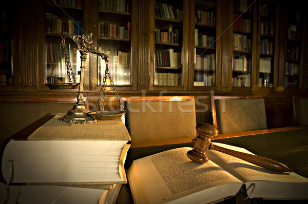 Decorative Scales of Justice in the library Stock photo © dzejmsdin