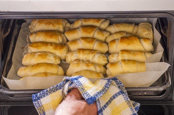 Salado mantequilla rodar pan frescos horno Foto stock © dzejmsdin