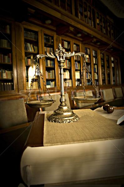 декоративный Весы правосудия библиотека символ прав Сток-фото © dzejmsdin