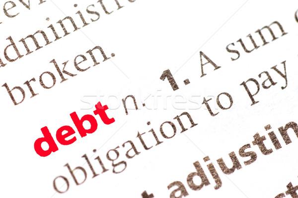 Definición deuda diccionario vista manos Foto stock © dzejmsdin
