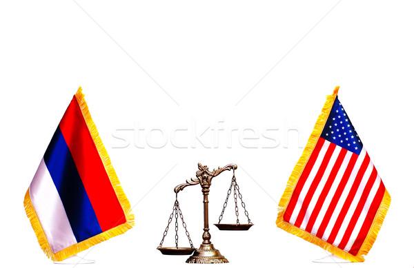 Americano russo bandeira balança justiça branco Foto stock © dzejmsdin