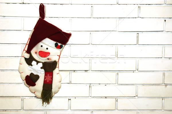 Photo stock: Noël · chaussettes · blanche · mur · de · briques · mur · hiver