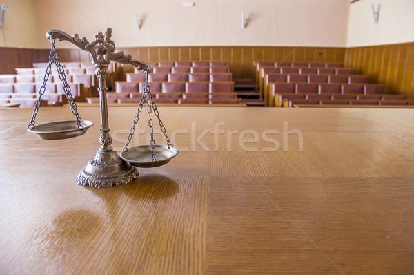 Balança justiça símbolo lei vazio Foto stock © dzejmsdin