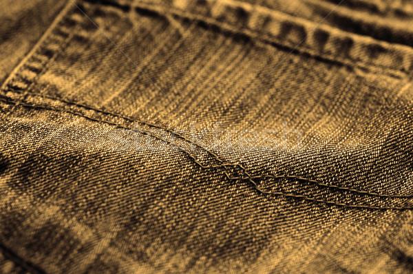 Jeans sepia macro atención selectiva tejido ropa Foto stock © dzejmsdin