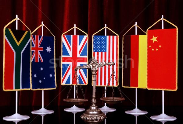 международных прав порядка декоративный Весы правосудия Сток-фото © dzejmsdin