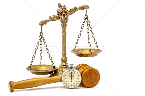Photo stock: Temps · justice · vieux · argent · chronomètre · bois