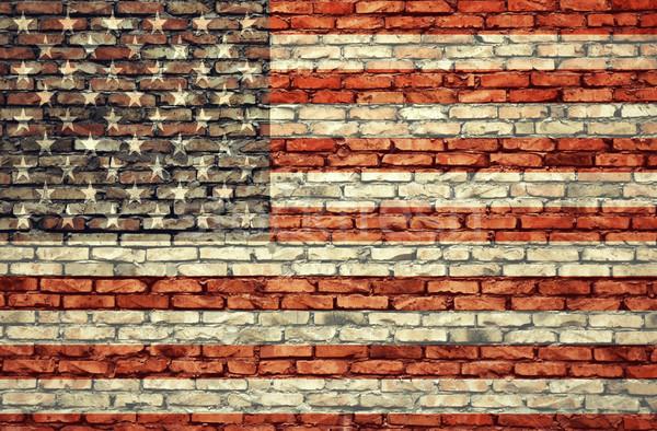 Photo stock: Drapeau · américain · mur · de · briques · texture · mur · star · couleur
