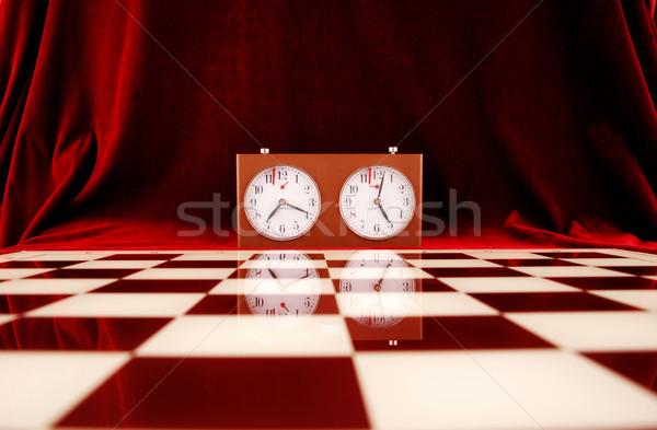 Szachownica pusty szachy zegar czerwony sukces Zdjęcia stock © dzejmsdin
