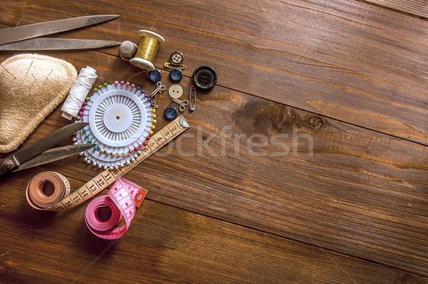 De costura ferramentas textura moda Foto stock © dzejmsdin