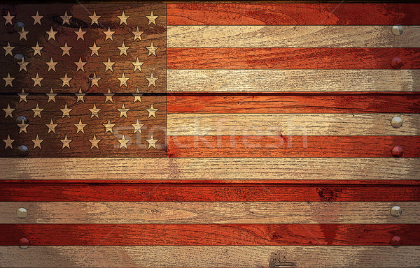 Photo stock: Grunge · USA · pavillon · bois · affiche · effet