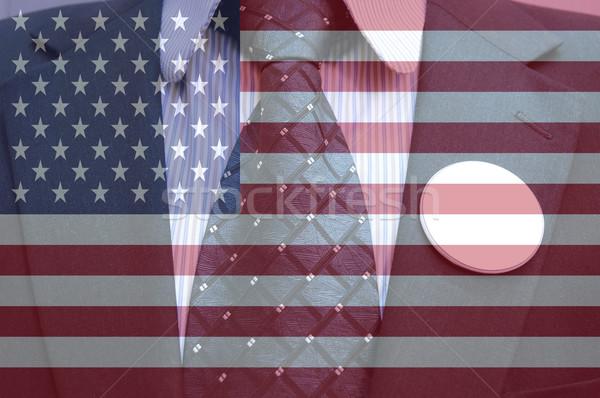 американский выборы бизнесмен костюм жетоны американский флаг Сток-фото © dzejmsdin
