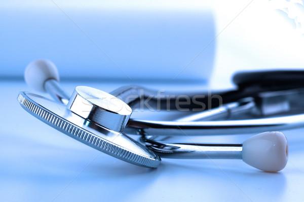 стетоскоп макроса синий здоровья Сток-фото © dzejmsdin