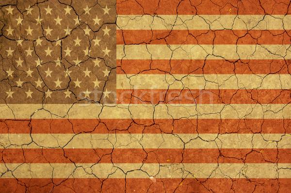 Resumen bandera de Estados Unidos secar tierra superficie textura Foto stock © dzejmsdin