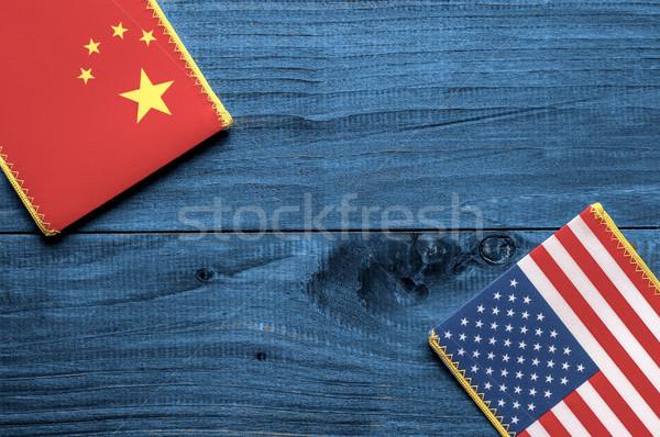American and Chinese flag  Stock photo © dzejmsdin