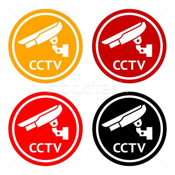 CCTV pictogram, set symbol security camera Stock photo © Ecelop