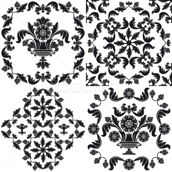 Seamless wallpaper pattern floral, elements Stock photo © Ecelop