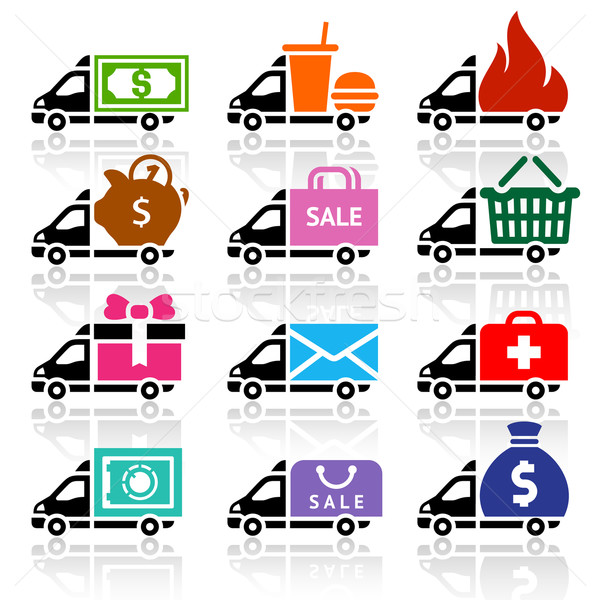 Delivery truck flat icons set Stock photo © Ecelop