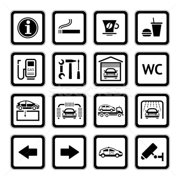 Establecer pictogramas coche servicios gasolinera negro Foto stock © Ecelop