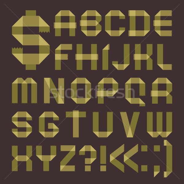 Font from greenish scotch tape -  Roman alphabet Stock photo © Ecelop