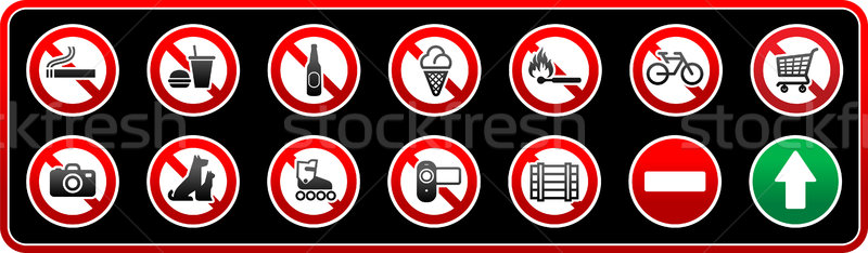 Prohibited Signs. Sticker for supermarkets Stock photo © Ecelop