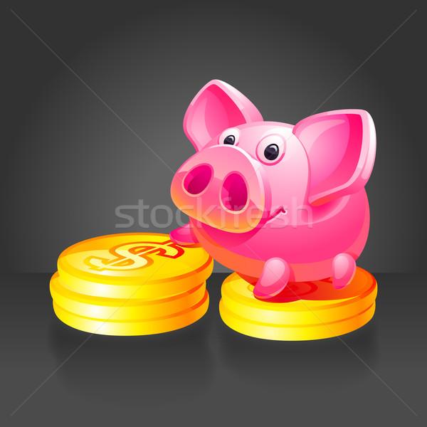 Stock fotó: Rózsaszín · persely · arany · érmék · fekete · 10 · eps