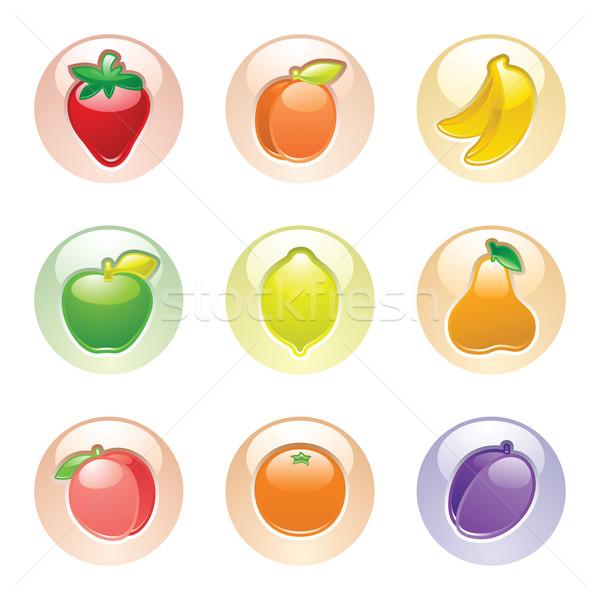 Fruits bouton gris web 20 icônes Photo stock © Ecelop