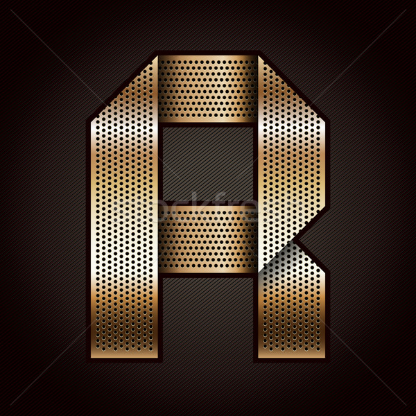 Letter metal gold ribbon - R Stock photo © Ecelop