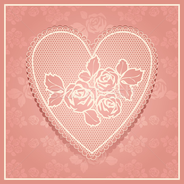 Pink lace in heart shape Stock photo © Ecelop