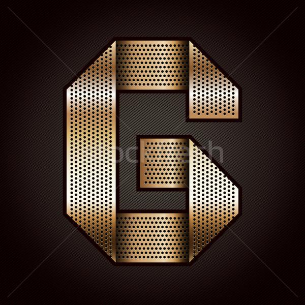 Stock photo: Letter metal gold ribbon - G