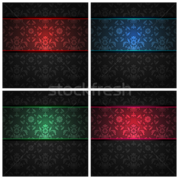 Set ornament  fabric texture - color ribbons Stock photo © Ecelop
