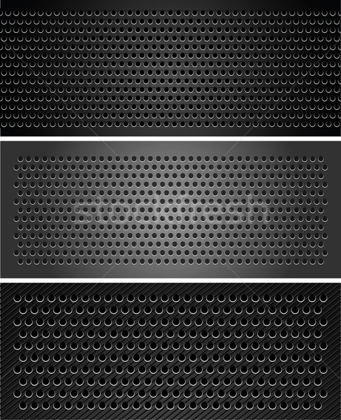 Stock photo: Set metallic perforated sheet