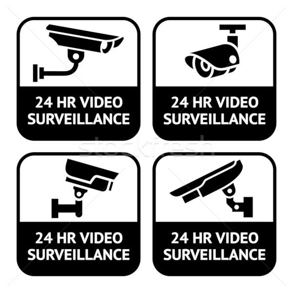 CCTV labels, set symbol security camera pictogram Stock photo © Ecelop