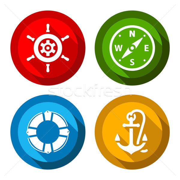 Set of travel flat color buttons Stock photo © Ecelop